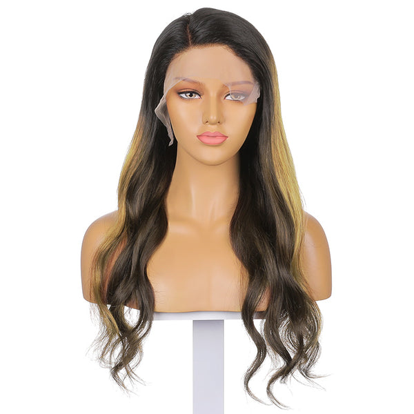 Sylvia |  22''Classic And Elegant Natural Color Highlights Long Body Wave Human Hair Wig