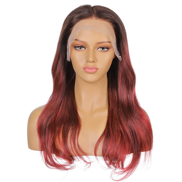 Edith |  20''Orange-red natural gradient temperament curly human hair wig