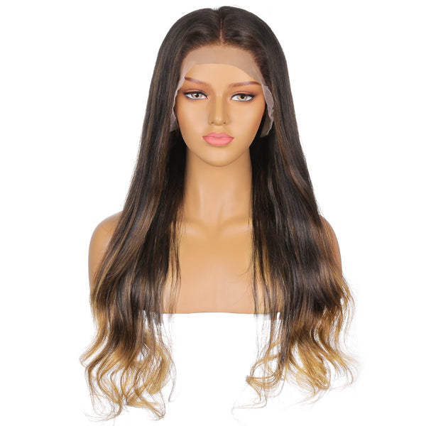 Chloe |  24'' Brown Highlighting Long Body Wave Human Hair Lace Front Wig