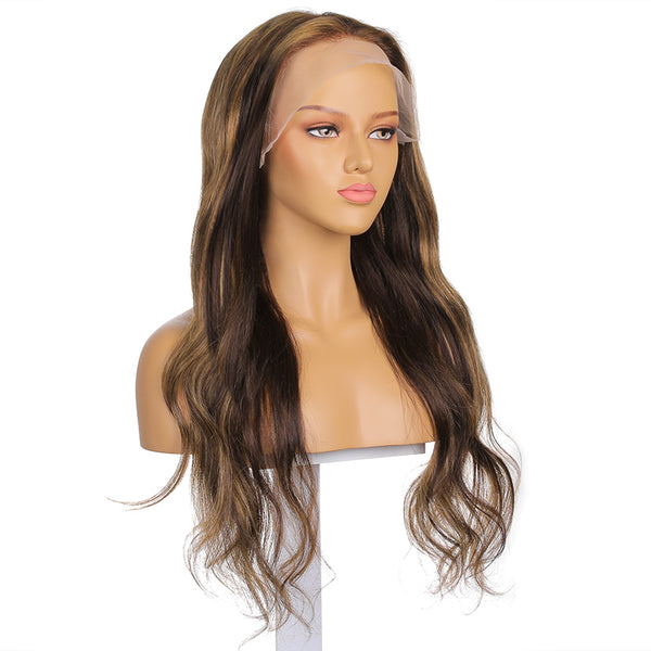 "Evelyn |  24"" Warm Tone Long Body Wave Human Hair Lace Front Wig"