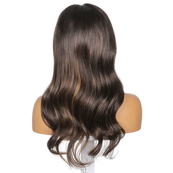 Petra |  20''Brown Naturally Highlighted Daily Medium and Long Body Wave Human Hair Wig