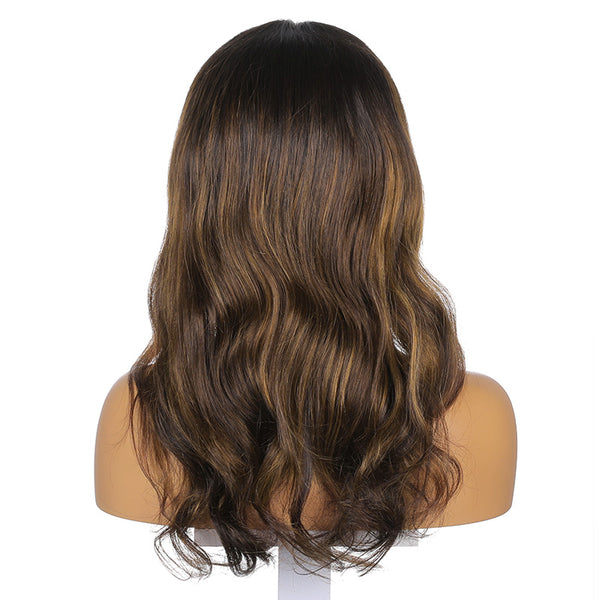 Layla | 18'' Temperament Fluffy Brown Highlight Long Body Wave Human Hair Wig