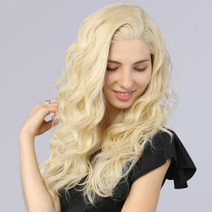 Synthetic Lace Front Wig Long Wavy Fake Scalp 613# Blonde Color - BIMBACHEXTREM