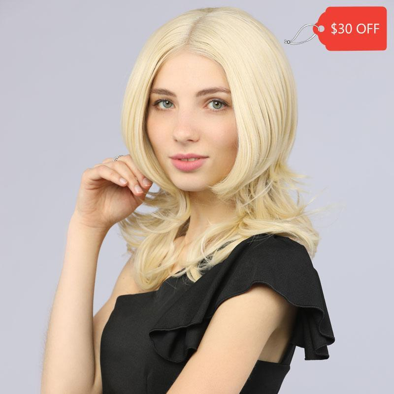 Bob Short Lace Front Synthetic Wavy Wig Fake Scalp Blonde Color 613# MildWild - MILDWILD