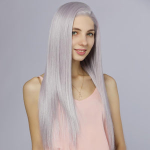 Fake Scalp Synthetic Lace Front Straight Wigs HD Lace Mix Color 60/Purple - MILDWILD