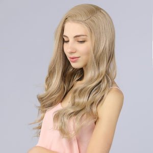 Synthetic Lace Front Wavy Wig Fake Scalp Natural Hairline Blonde color 103# - MILDWILD