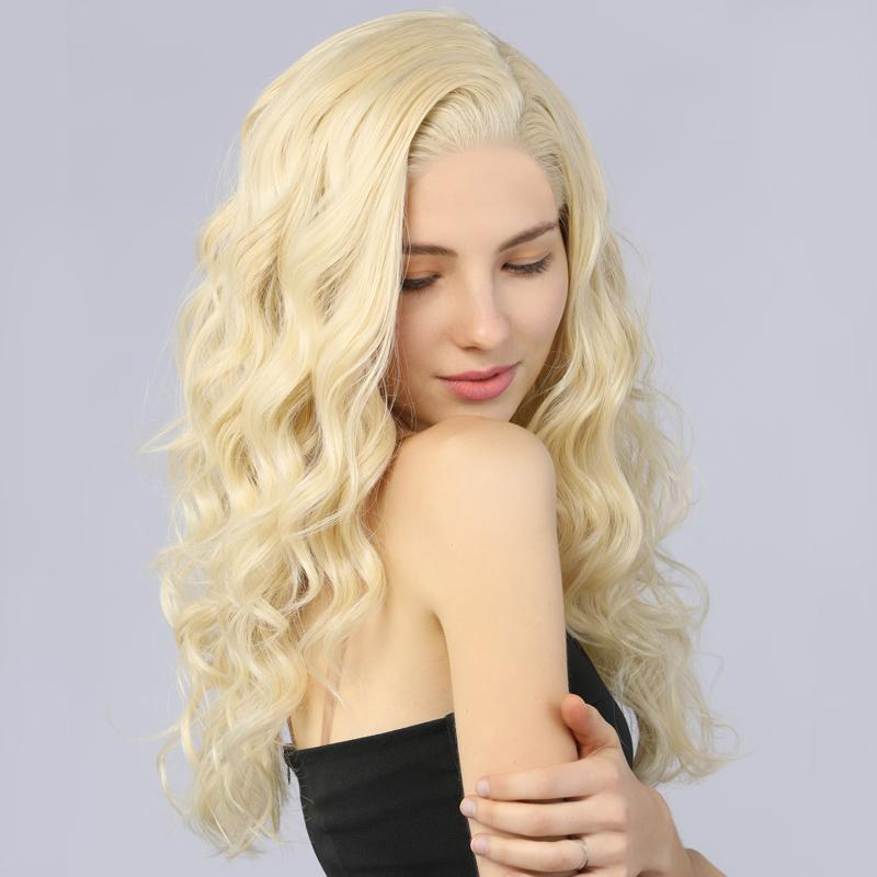 Synthetic Lace Front Wig Long Wavy Fake Scalp 613# Blonde Color - MILDWILD