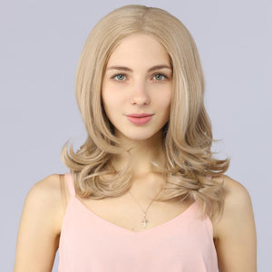 Fake Scalp Bob Short Lace Front Wavy Wigs Ash Blonde 103# color - MILDWILD
