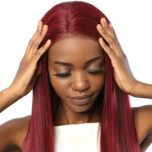 Synthetic Lace Front Wigs Fake Scalp Long Straight Burgundy color 39# - MILDWILD