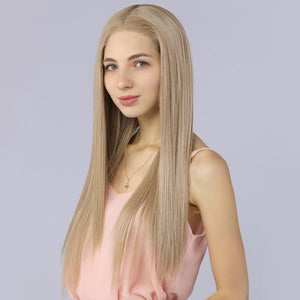 Fake Scalp Synthetic Lace Front Straight Wig Ash Blonde Color 103# - MILDWILD