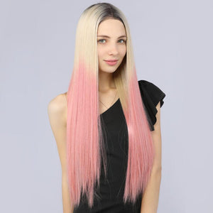 Fake Scalp Mildwild Synthetic Full Lace Wig Straight Hair Two Tone 2T613# Pink Color - MILDWILD