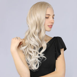 Synthetic Lace Front Wavy Wig Long Blonde Mix Platinum Color Simulation Scalp Wigs MildWild - MILDWILD
