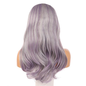 Fashion full lace wig synthetic wavy hair Fake Scalp 60# highlight purple color - MILDWILD