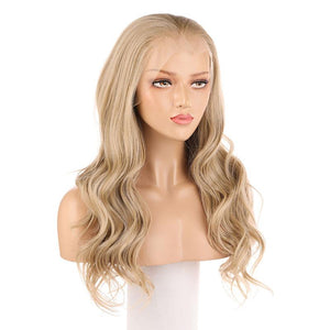 Blonde Lace Front Wig Synthetic Body Wavy Hair Fake Scalp 103# Color - BIMBACHEXTREM