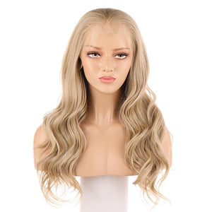 Blonde Lace Front Wig Synthetic Body Wavy Hair Fake Scalp 103# Color - MILDWILD