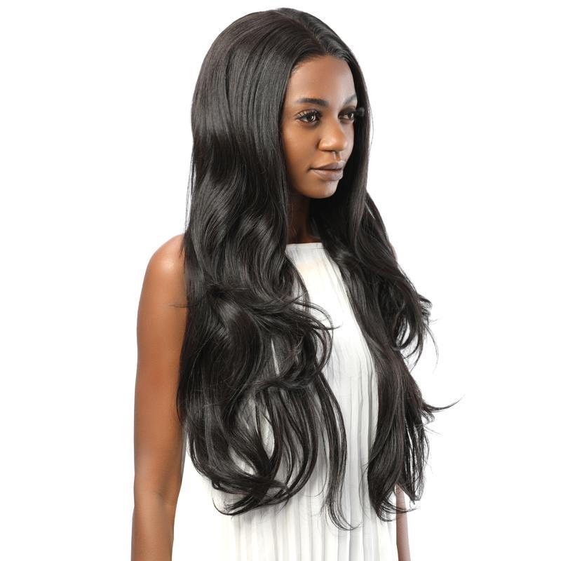 Synthetic Lace Front Wavy Wig Simulation Scalp Black Color 2# - MILDWILD
