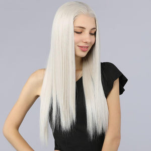 Fake Scalp Synthetic Frontal Lace Wig 13''x6''straight wigs color 60# - MILDWILD