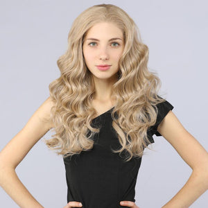 Synthetic Lace Front Wigs Curly Wavy Layers Simulation Scalp Ash Blond 103# color - MILDWILD