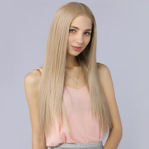 Fake Scalp Synthetic Lace Front Straight Wig Ash Blonde Color for Fashion Women - BIMBACHEXTREM