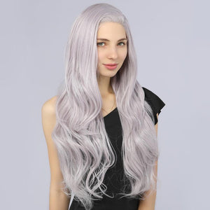 Synthetic Lace Front Wavy Wigs Fake Scalp Glueless Wig Mix Purple Color - MILDWILD