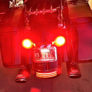 Harley LED Light Bulb Kit: Front Running Lights (white/w amber) & Rear Turn Signals (red or amber) fits 1157 Socket