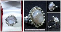 Handmade Sterling Ring with an Crazy Lace Cabochon