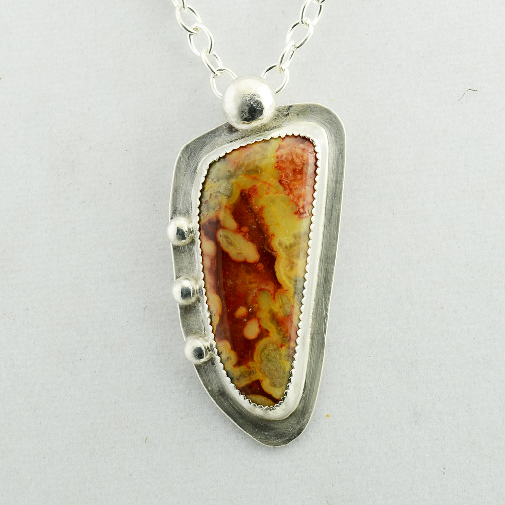 Handmade Sterling Silver and Lace Agate Pendant