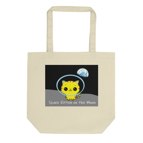 Space Kitten on the Moon Eco Tote Bag - Dark Sky Market