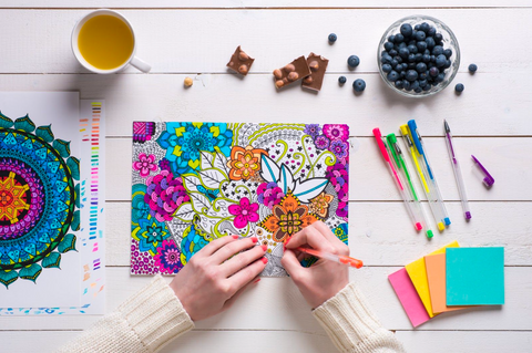 best adulting coloring books with coffee and colored pencils