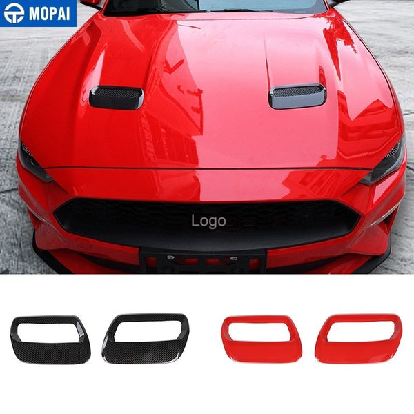 MOPAI Car Stickers for Ford Mustang 2018+ Carbon fiber Hood Engine Cover Air Outlet Decoration for Ford Mustang Car Accessories - 8k Carbon Fiber Accessories