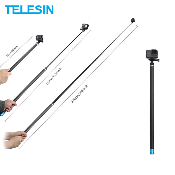TELESIN 106 Selfie Stick Extendable Handheld Monopod for