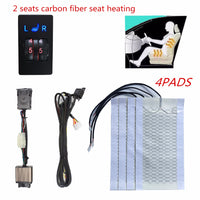 12V 2 Seats 4 Pads Universal Carbon Fiber Heated Seat