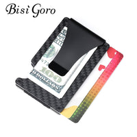 Bisi Goro 2020 Mini Card Case New Men RFID Anti-thief Credit Card Wallet Carbon Fiber Business Bank ID Card Holder Slim Wallet - 8k Carbon Fiber Accessories