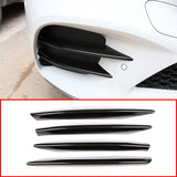 4pcs Carbon Fiber ABS Car Front Lamp Decoration Strips Trim