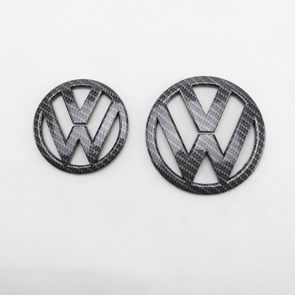 110mm Carbon Fiber Looks Front Grill Badge Logo + 90mm Rear