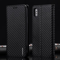 L-FADNUT Carbon Fiber Flip Leather Case For iPhone 7 8 6 6S
