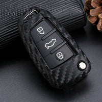 Car Key Case Cover Carbon Fiber For Audi A3 A4 A4L B5 B6 B7