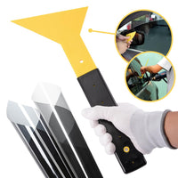 FOSHIO Long Handle Foot Squeegee Carbon Fiber Vinyl Film Car
