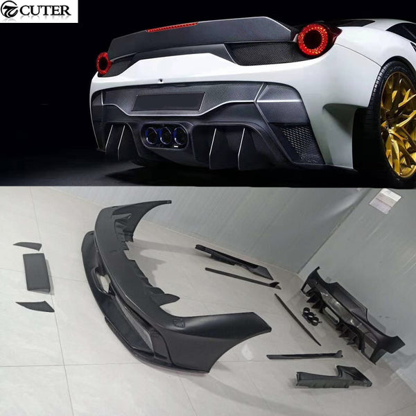 458 V style Carbon fiber FRP front bumper lip rear bumper diffuser side skirts rear spoiler for Ferrari 458 V style car body kit - 8k Carbon Fiber Accessories