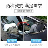 For Car Styling 2019 Tesla Model 3 Accessories Sticker Chrome Carbon Fiber Door Mirror Covers Guard Rear View Mirror Cover Plate - 8k Carbon Fiber Accessories