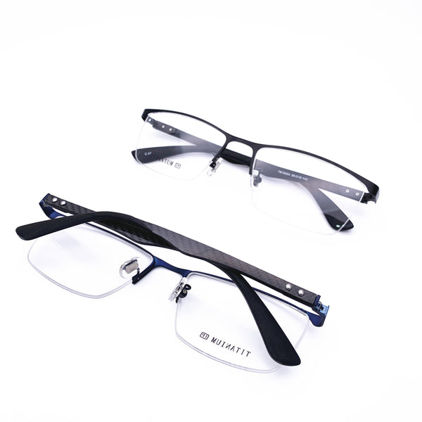 Belight Optical Titanium with Carbon Fiber Half Rimless Men