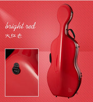 new full size cello case carbon fiber 4/4 high strength powder red #WEIHAI - 8k Carbon Fiber Accessories