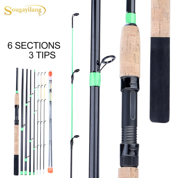 Sougayilang Orange/Green/black Lengthened Handle Feeder Fishing Rod 6Sections L M H Power Carbon Fiber Travel Rod Fishing Tackle - 8k Carbon Fiber Accessories