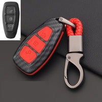 Carbon Fiber Remote Control Car Keychain Key Cover Case For
