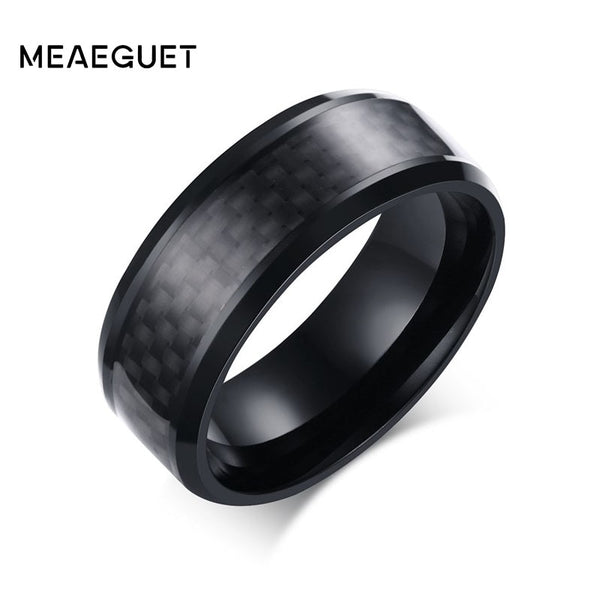 Meaeguet Stainless Steel Rings Black Carbon Fiber Inlaid