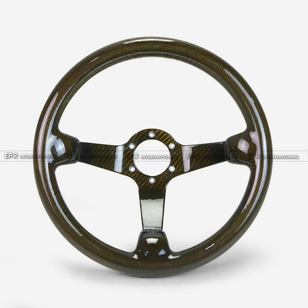 Universal Carbon Fiber Yellow Deep Dish Type Steering wheel