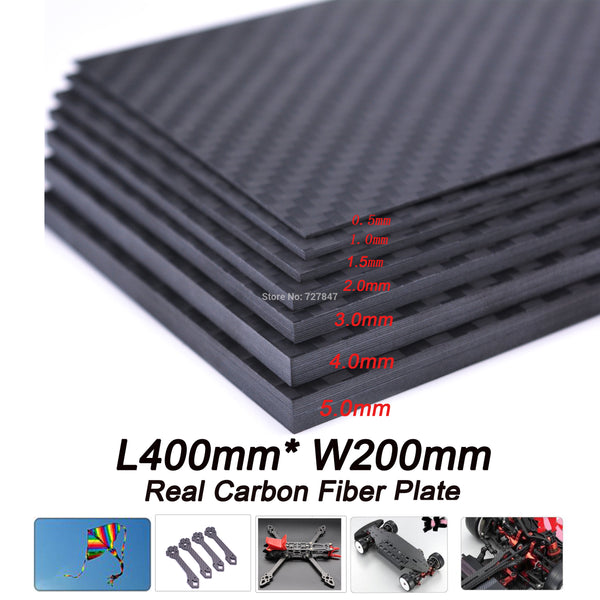 400mm X 200mm Real Carbon Fiber Plate Panel Sheets 0.5mm 1mm