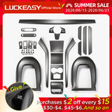 LUCKEASY Car Accessories Interior For Tesla Model3 Carbon