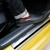 Car Styling 5D Carbon Fiber Rubber Stickers Door Sill
