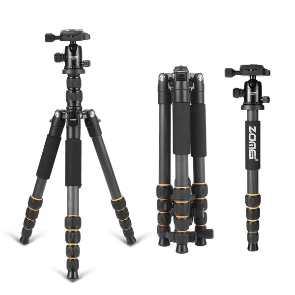 Professional Q666C portable travel carbon fiber tripod